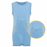 KayCey Super Soft Body Suit - Sleeveless with Tube Access - BLUE from